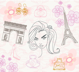 Photo sur Aluminium Doodle Paris seamless pattern