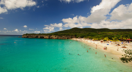 Beautiful beach with turquoise waters in the Caribbean