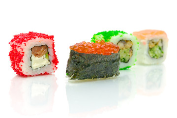 Different sushi rolls on a white background