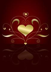 Edler Liebesgruß mit Herz und Ornament in Gold