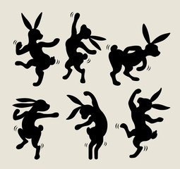 Rabbit dancing silhouette vector