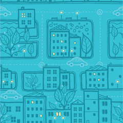 Vector city streets seamless pattern background with hand drawn