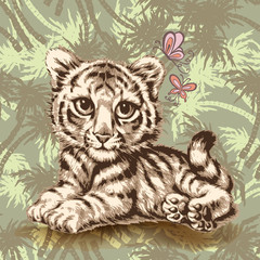 baby tiger graphic over seamless camouflage background