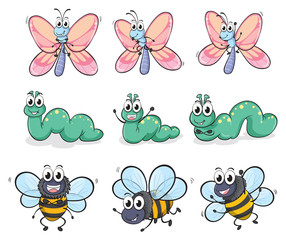 A caterpillar, a butterfly and a bee