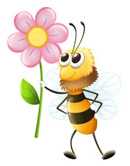 A bee holding a flower