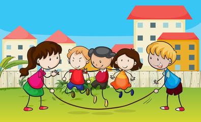 Kids playing rope
