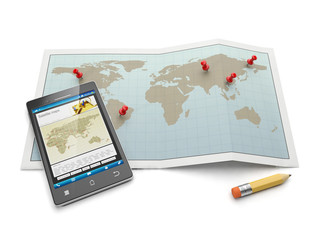 Maps and navigational charts. Mobile phone and search for the lo