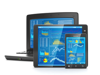 Mobile technology for business. Group of mobile phone tablet com
