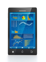 Mobile technology for business. Mobile phone close-up with busin