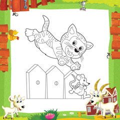Ingelijste posters Doe het zelf The coloring plate - illustration for the children