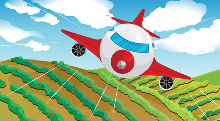 Papiers peints Avion, ballon A flying airplain and a beautiful landscape