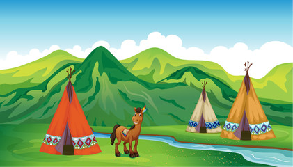 Printed kitchen splashbacks Indians Tents and a smiling horse