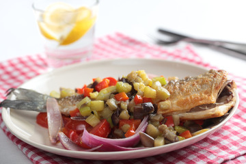 Roasted sea bass with vegetables