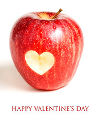 Valentine's day card - Red apple with heart on white
