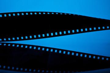 Filmstrip on blue background