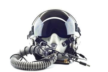 Flight helmet with oxygen mask.