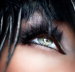 Smokey Eyes Make-up close-up. Black Eyeshadow