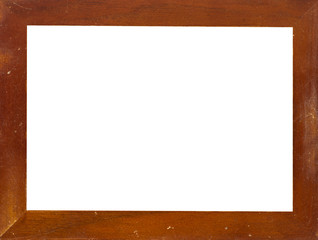 Vintage picture frame, wood plated, white background, clipping p