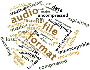 Word cloud for Audio file format
