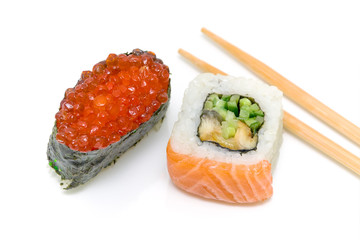 "sushi with red caviar and roll ""yin-yang"" on a white background"
