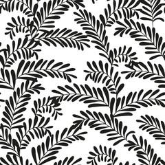 Seamless stylish black and white leaf pattern