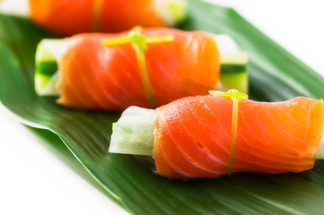 Japanese style hors d'oeuvre, made by smoked salmon