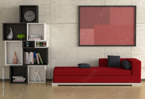 rotes sofa stockfotos und lizenzfreie bilder auf bild 48596830. Black Bedroom Furniture Sets. Home Design Ideas
