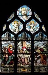 Foto op Plexiglas Stained Pieta, stained glass, Saint Severin church, Paris