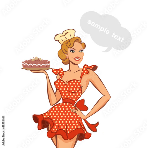vector illustration of a vintage pin up girl and cake stock image rh fotolia com pin up girl vector free download pin up girl silhouette vector