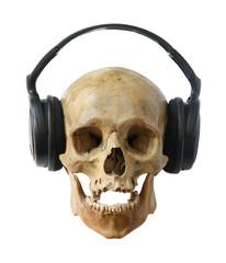 Human skull in headphones.