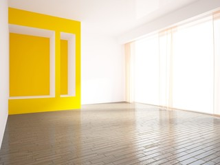 empty interior with orange curtains and wall