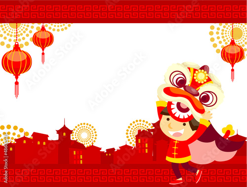 lion dance Chinese New Year Greeting Card\