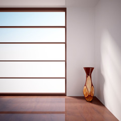 empty interior with window and wooden vase