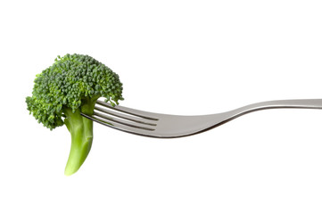 raw broccoli on a fork