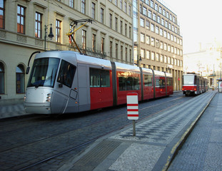 City red trams background
