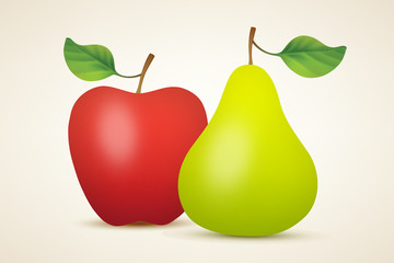 Red apple and green pear
