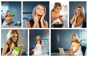 collage of young beautiful blonde using moisturizing facial mask