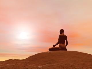 Meditation pose, padmasana - 3D render