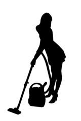 Zarys kobiety sprzątającej