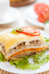 piece of vegetable lasagna with cheese