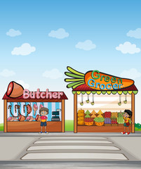 A butcher shop and a fruit stand