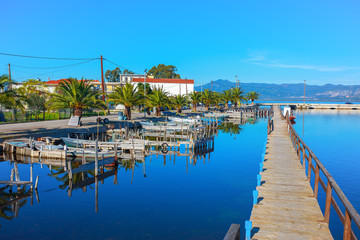 Greece, Beautifull sea lake port view in Aitoliko in Central Gre