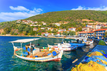 Greece, Traditional fishing boats in Central Greece at Nafpacto
