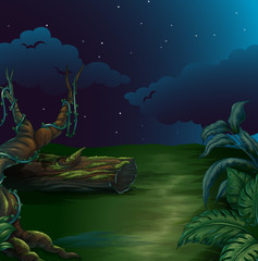 A beautiful landscape in a dark night
