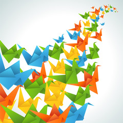 Zelfklevend Fotobehang Geometrische dieren Origami paper birds flight abstract background.