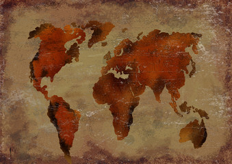 Aluminium Prints World Map Ancient worls map