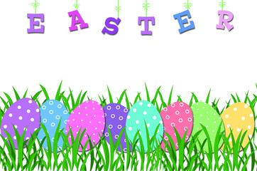 easter border with colorful eggs in the grass