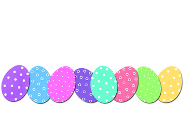easter border with colorful eggs in row