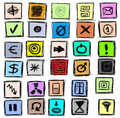 abstract doodle hand drawn business and  web icons
