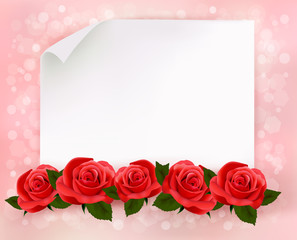 Holiday background with sheet of paper and red flowers. Vector